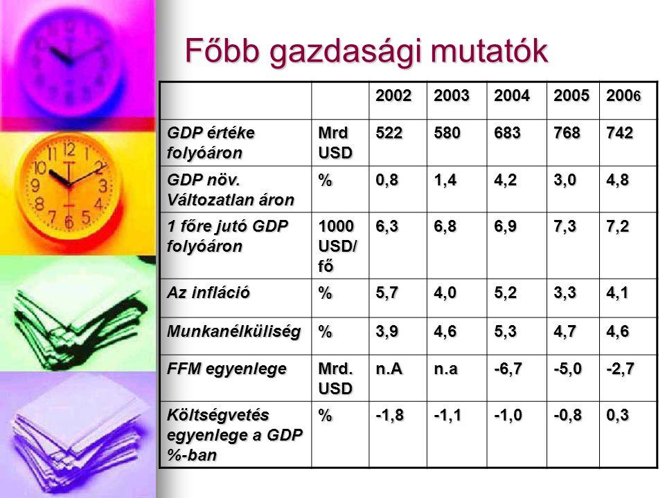 Főbb gazdasági mutatók 2002200320042005 200 6 GDP értéke folyóáron Mrd USD 522580683768742 GDP növ. Változatlan áron %0,81,44,23,04,8 1 főre jutó GDP