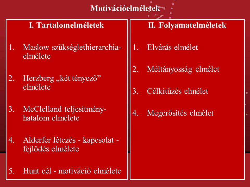 """Motivációelméletek I. Tartalomelméletek 1.Maslow szükséglethierarchia- elmélete 2.Herzberg """"két tényező"""" elmélete 3.McClelland teljesítmény- hatalom e"""