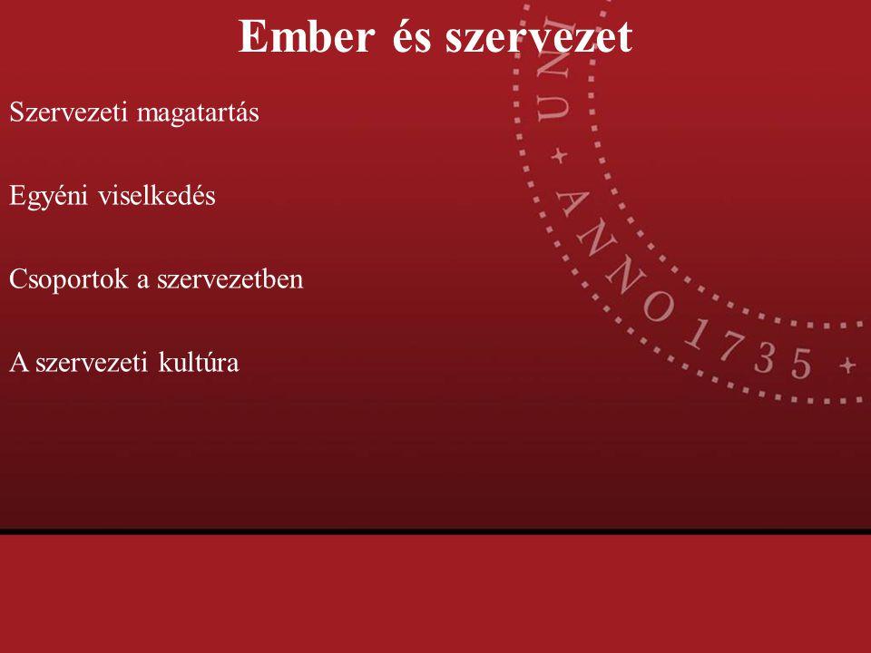 Ember és szervezet Szervezeti magatartás Egyéni viselkedés Csoportok a szervezetben A szervezeti kultúra