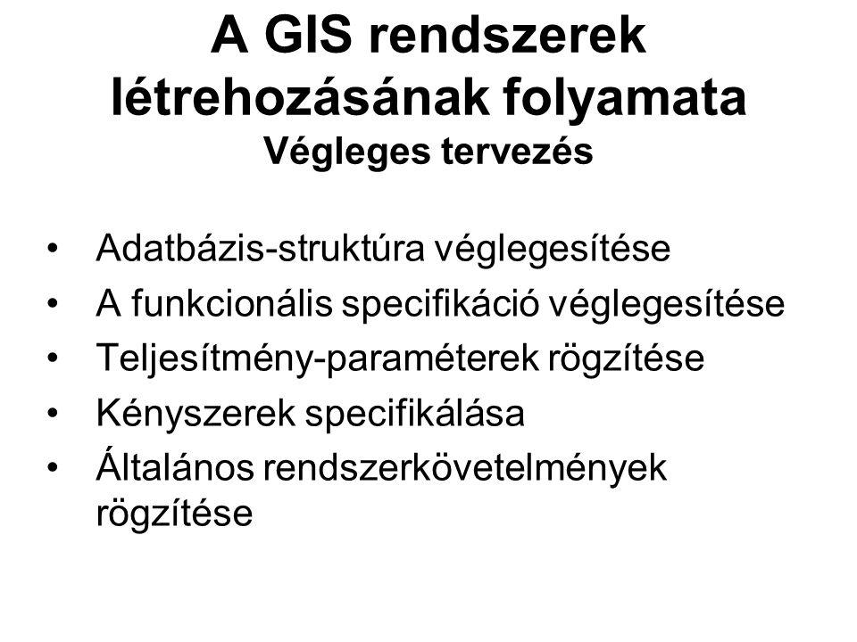 A GIS rendszerek létrehozásának folyamata Végleges tervezés Adatbázis-struktúra véglegesítése A funkcionális specifikáció véglegesítése Teljesítmény-paraméterek rögzítése Kényszerek specifikálása Általános rendszerkövetelmények rögzítése