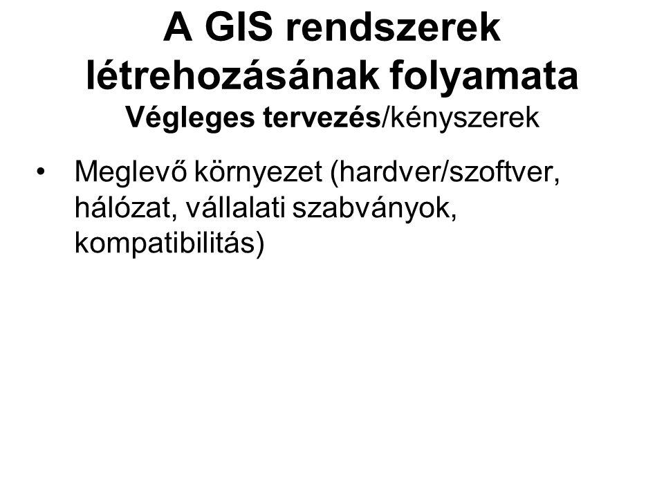 A GIS rendszerek létrehozásának folyamata Végleges tervezés/kényszerek Meglevő környezet (hardver/szoftver, hálózat, vállalati szabványok, kompatibilitás)