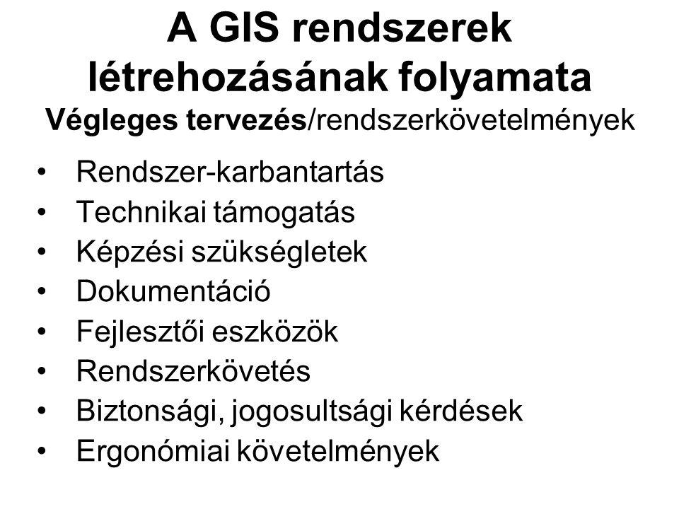 A GIS rendszerek létrehozásának folyamata Végleges tervezés/rendszerkövetelmények Rendszer-karbantartás Technikai támogatás Képzési szükségletek Dokumentáció Fejlesztői eszközök Rendszerkövetés Biztonsági, jogosultsági kérdések Ergonómiai követelmények