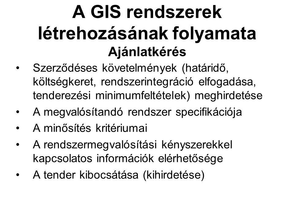 A GIS rendszerek létrehozásának folyamata Ajánlatkérés Szerződéses követelmények (határidő, költségkeret, rendszerintegráció elfogadása, tenderezési minimumfeltételek) meghirdetése A megvalósítandó rendszer specifikációja A minősítés kritériumai A rendszermegvalósítási kényszerekkel kapcsolatos információk elérhetősége A tender kibocsátása (kihirdetése)