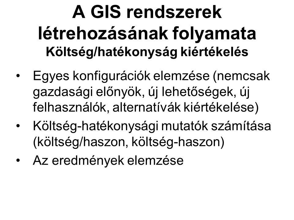 A GIS rendszerek létrehozásának folyamata Költség/hatékonyság kiértékelés Egyes konfigurációk elemzése (nemcsak gazdasági előnyök, új lehetőségek, új felhasználók, alternatívák kiértékelése) Költség-hatékonysági mutatók számítása (költség/haszon, költség-haszon) Az eredmények elemzése