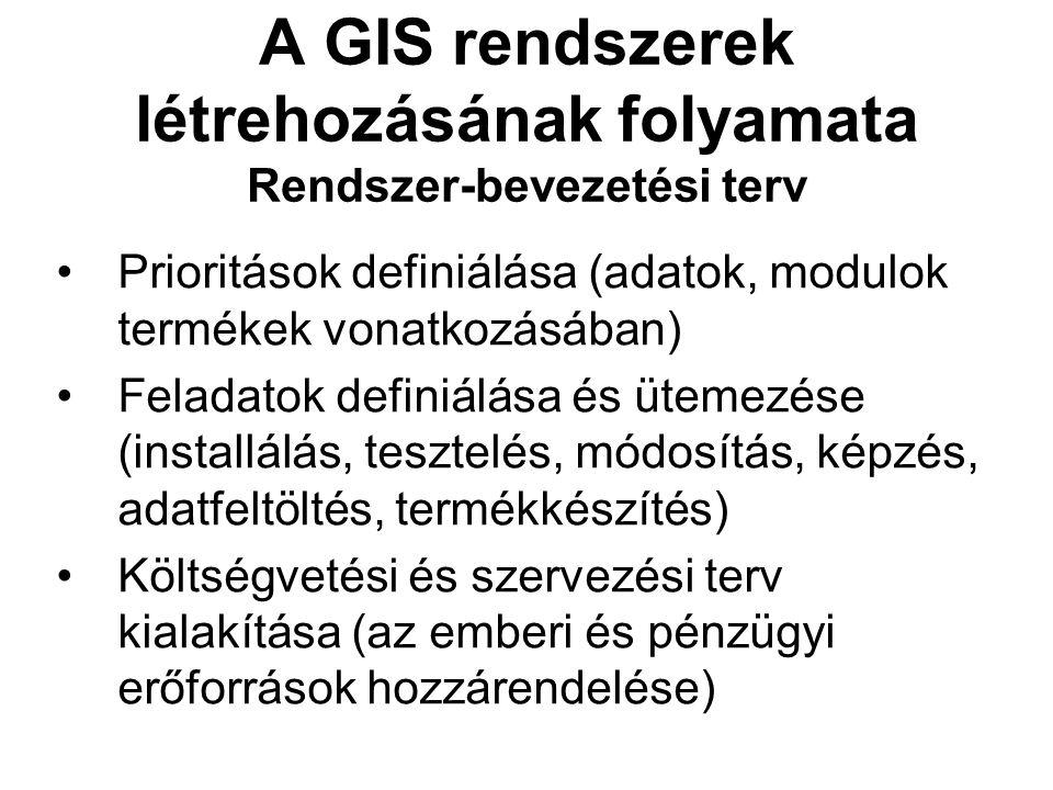 A GIS rendszerek létrehozásának folyamata Rendszer-bevezetési terv Prioritások definiálása (adatok, modulok termékek vonatkozásában) Feladatok definiálása és ütemezése (installálás, tesztelés, módosítás, képzés, adatfeltöltés, termékkészítés) Költségvetési és szervezési terv kialakítása (az emberi és pénzügyi erőforrások hozzárendelése)