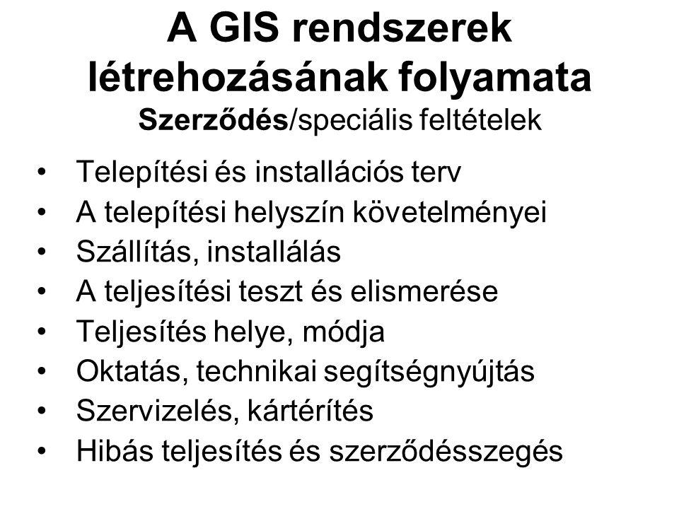 A GIS rendszerek létrehozásának folyamata Szerződés/speciális feltételek Telepítési és installációs terv A telepítési helyszín követelményei Szállítás, installálás A teljesítési teszt és elismerése Teljesítés helye, módja Oktatás, technikai segítségnyújtás Szervizelés, kártérítés Hibás teljesítés és szerződésszegés