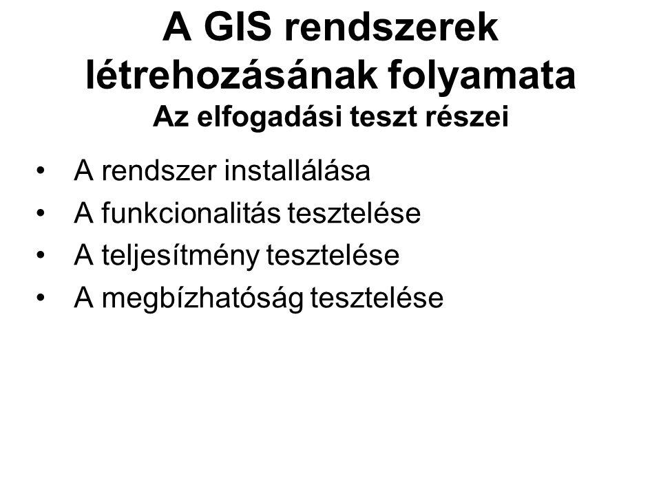 A GIS rendszerek létrehozásának folyamata Az elfogadási teszt részei A rendszer installálása A funkcionalitás tesztelése A teljesítmény tesztelése A megbízhatóság tesztelése