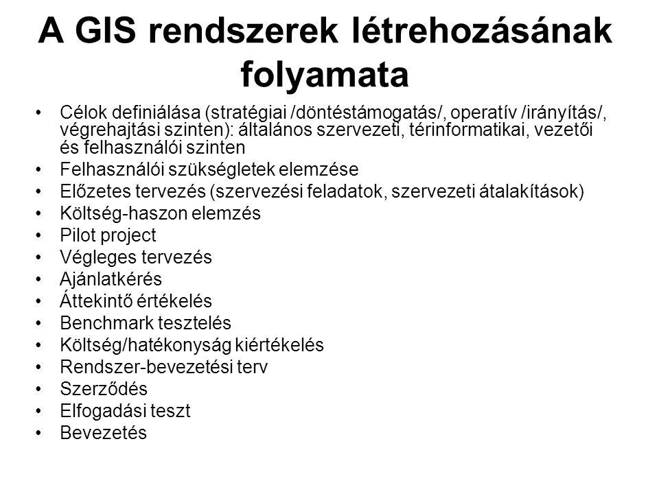 A GIS rendszerek létrehozásának folyamata Célok definiálása (stratégiai /döntéstámogatás/, operatív /irányítás/, végrehajtási szinten): általános szervezeti, térinformatikai, vezetői és felhasználói szinten Felhasználói szükségletek elemzése Előzetes tervezés (szervezési feladatok, szervezeti átalakítások) Költség-haszon elemzés Pilot project Végleges tervezés Ajánlatkérés Áttekintő értékelés Benchmark tesztelés Költség/hatékonyság kiértékelés Rendszer-bevezetési terv Szerződés Elfogadási teszt Bevezetés