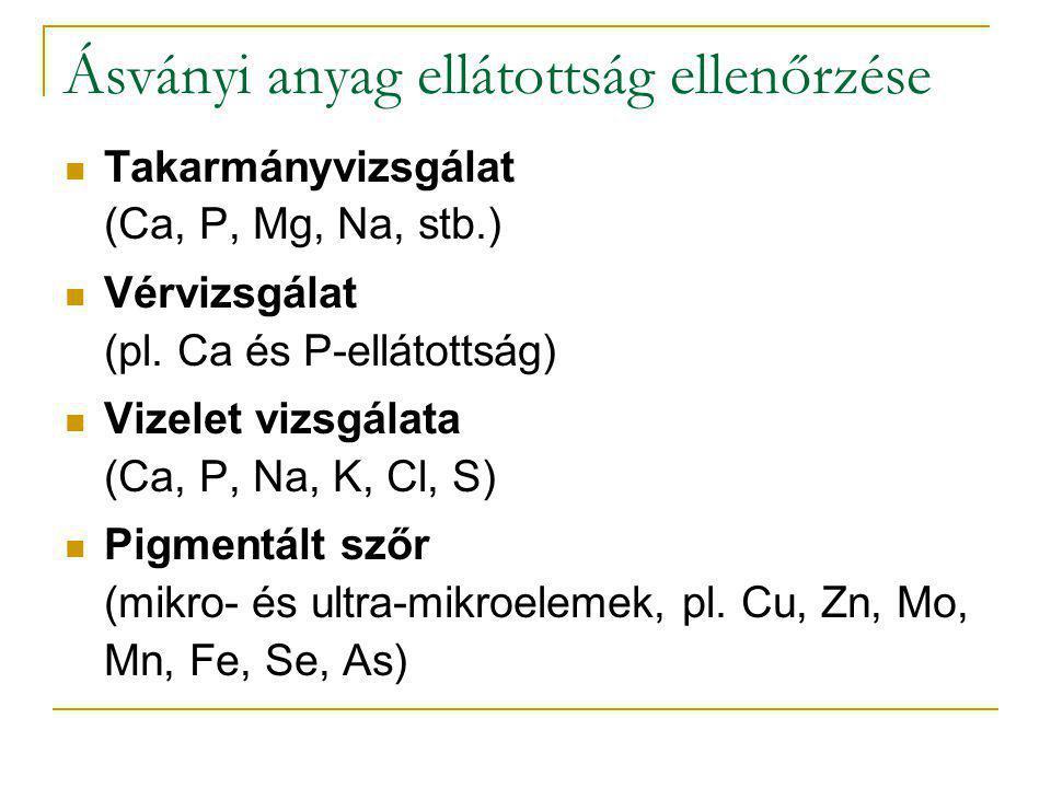 Ásványi anyag ellátottság ellenőrzése Takarmányvizsgálat (Ca, P, Mg, Na, stb.) Vérvizsgálat (pl. Ca és P-ellátottság) Vizelet vizsgálata (Ca, P, Na, K