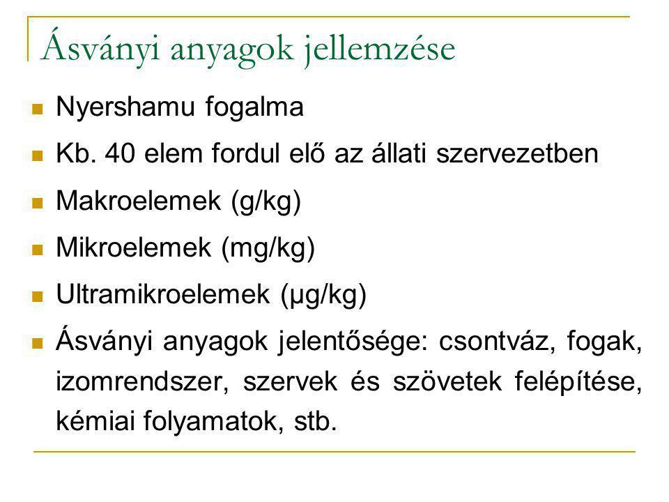 Ásványi anyagok jellemzése Nyershamu fogalma Kb. 40 elem fordul elő az állati szervezetben Makroelemek (g/kg) Mikroelemek (mg/kg) Ultramikroelemek (µg