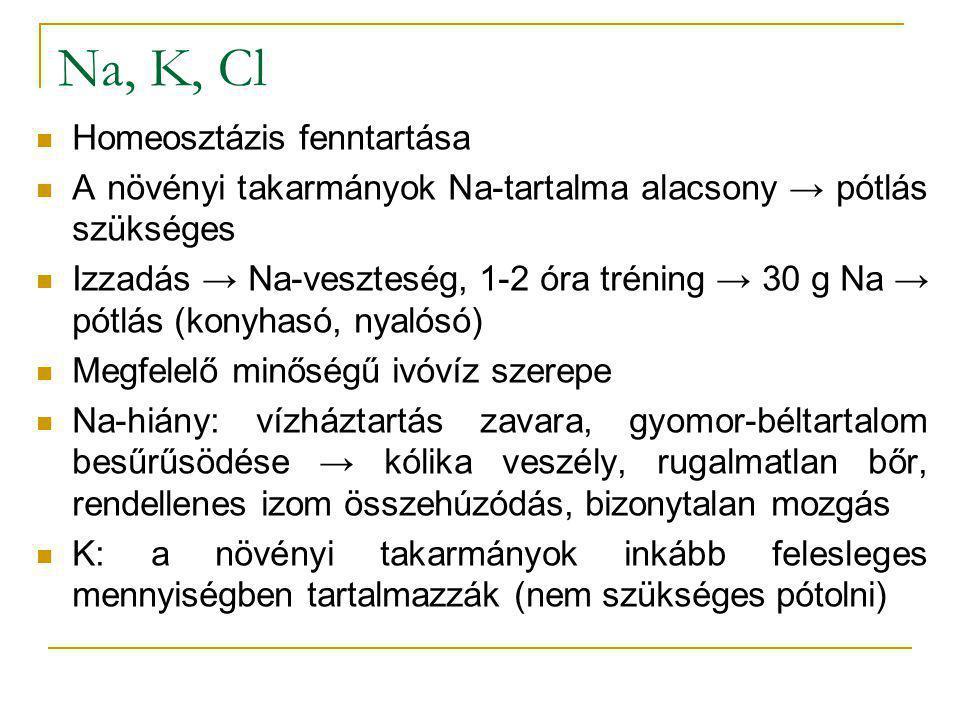 Na, K, Cl Homeosztázis fenntartása A növényi takarmányok Na-tartalma alacsony → pótlás szükséges Izzadás → Na-veszteség, 1-2 óra tréning → 30 g Na → p