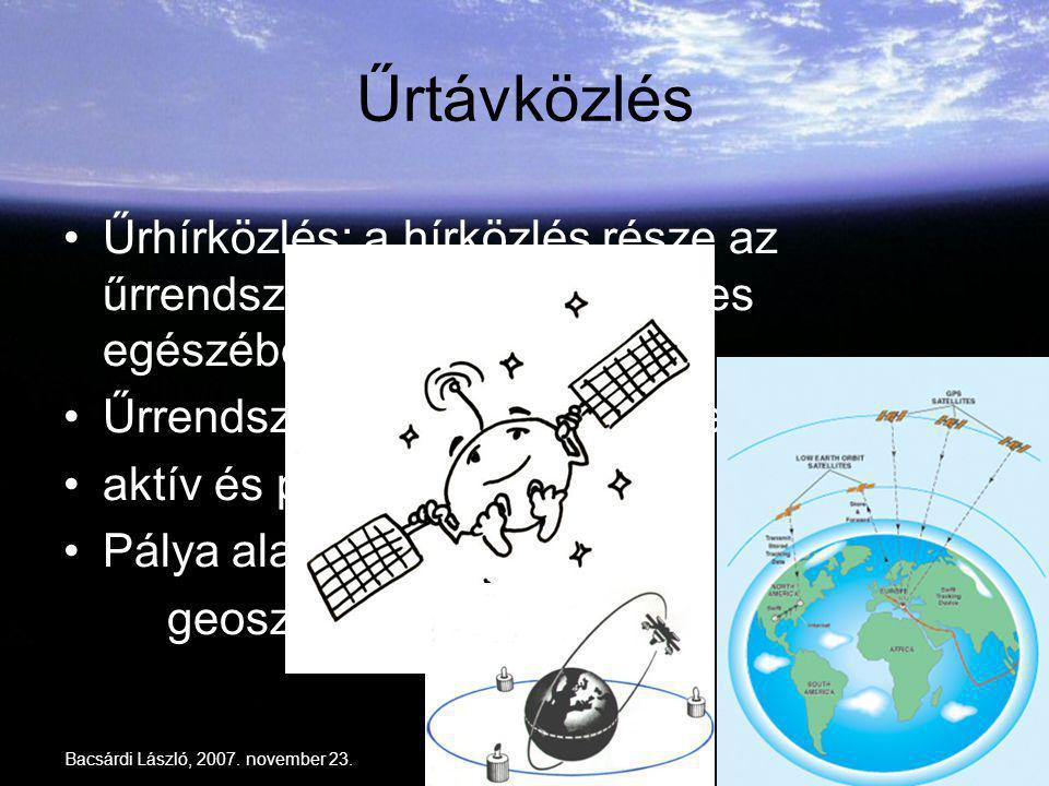 Bacsárdi László, 2007. november 23.10 Űrtávközlés Űrhírközlés: a hírközlés része az űrrendszer (részben vagy teljes egészében) Űrrendszer: űreszköz +
