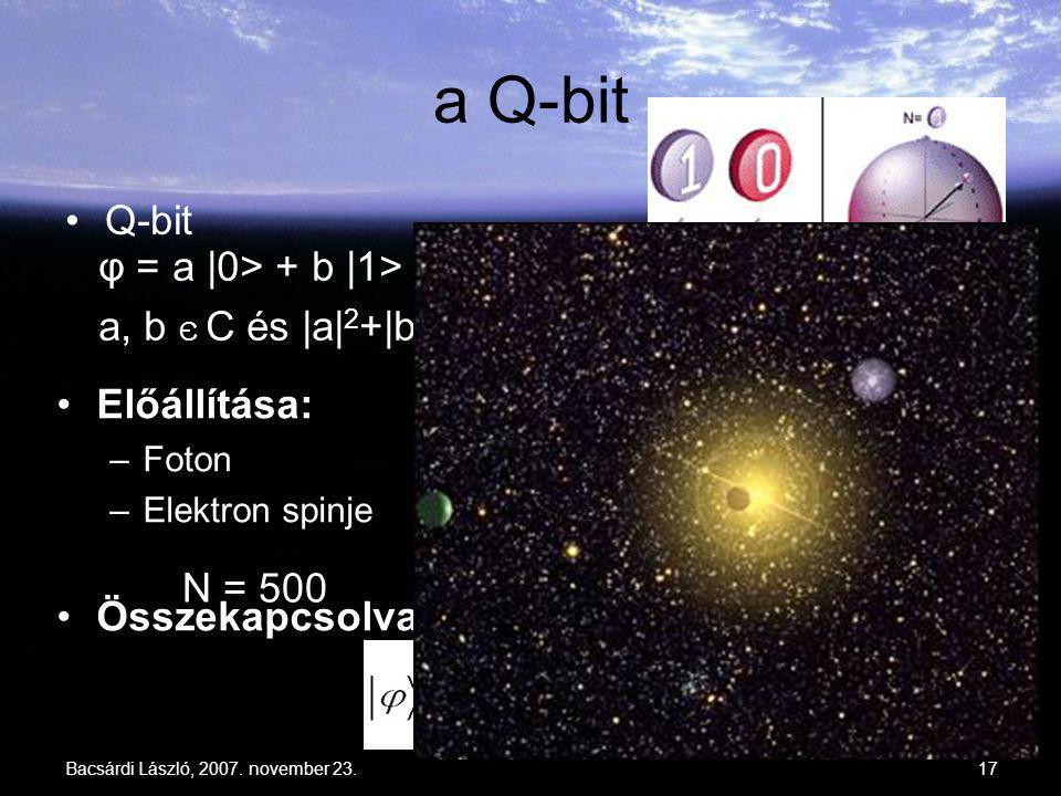 Bacsárdi László, 2007. november 23.17 a Q-bit φ = a |0> + b |1> a, b Є C és |a| 2 +|b| 2 = 1 Q-bit Előállítása: –Foton –Elektron spinje Összekapcsolva
