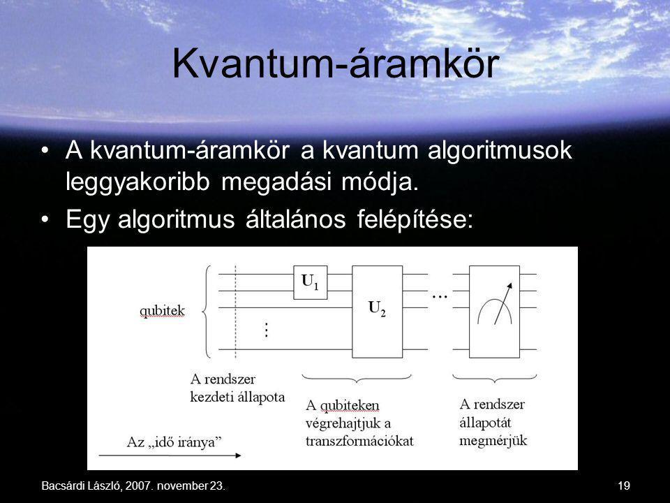 Bacsárdi László, 2007. november 23.19 Kvantum-áramkör A kvantum-áramkör a kvantum algoritmusok leggyakoribb megadási módja. Egy algoritmus általános f