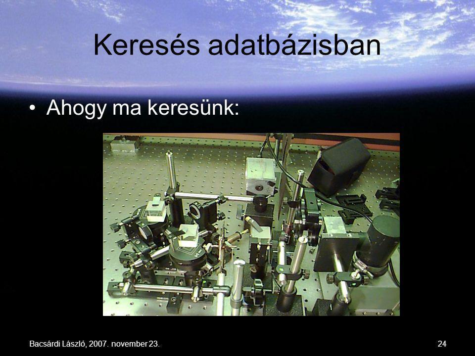 Bacsárdi László, 2007. november 23.24 Keresés adatbázisban Ahogy ma keresünk: