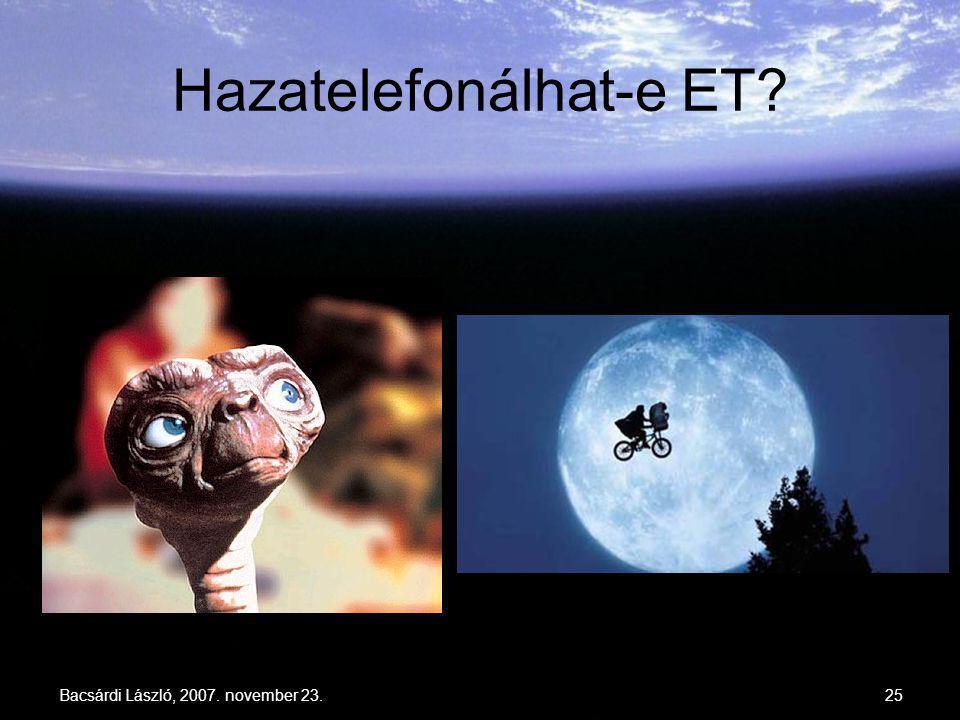 Bacsárdi László, 2007. november 23.25 Hazatelefonálhat-e ET?