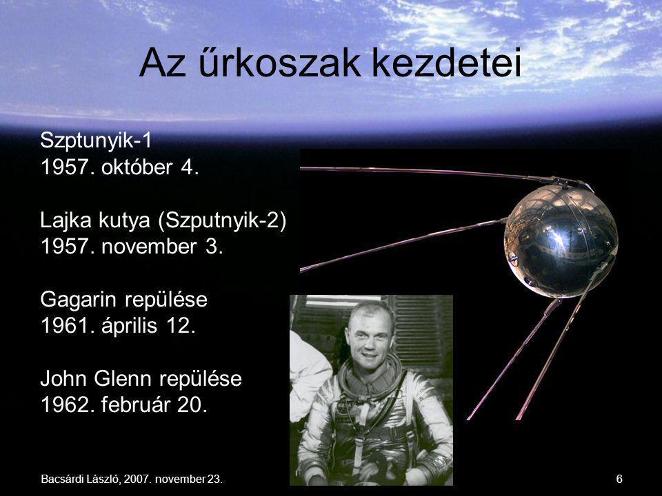Bacsárdi László, 2007. november 23.6 Az űrkoszak kezdetei Szptunyik-1 1957. október 4. Lajka kutya (Szputnyik-2) 1957. november 3. Gagarin repülése 19