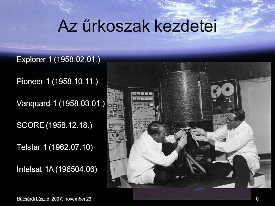 8 Az űrkoszak kezdetei Explorer-1 (1958.02.01.) Pioneer-1 (1958.10.11.) Vanquard-1 (1958.03.01.) SCORE (1958.12.18.) Telstar-1 (1962.07.10) Intelsat-1