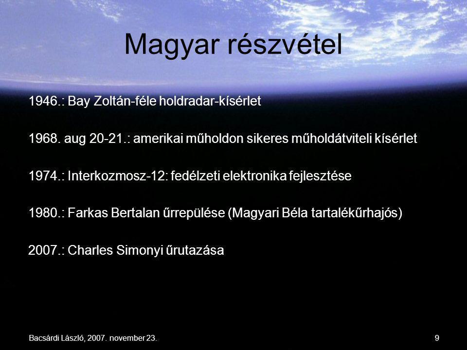 Bacsárdi László, 2007. november 23.9 Magyar részvétel 1946.: Bay Zoltán-féle holdradar-kísérlet 1968. aug 20-21.: amerikai műholdon sikeres műholdátvi