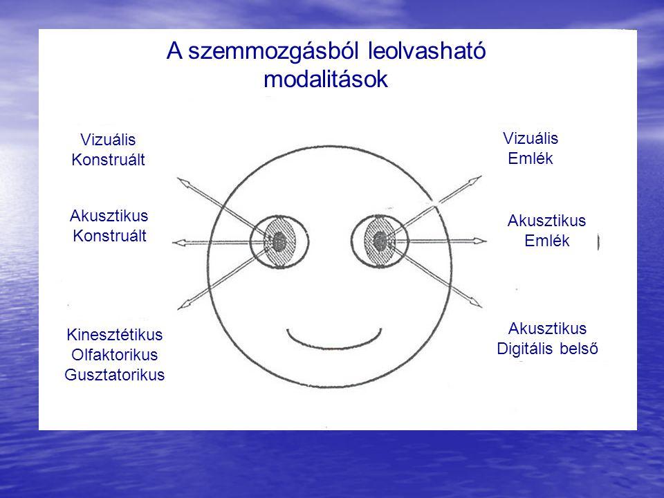 Vizuális Konstruált Akusztikus Konstruált Kinesztétikus Olfaktorikus Gusztatorikus Vizuális Emlék Akusztikus Emlék Akusztikus Digitális belső A szemmo
