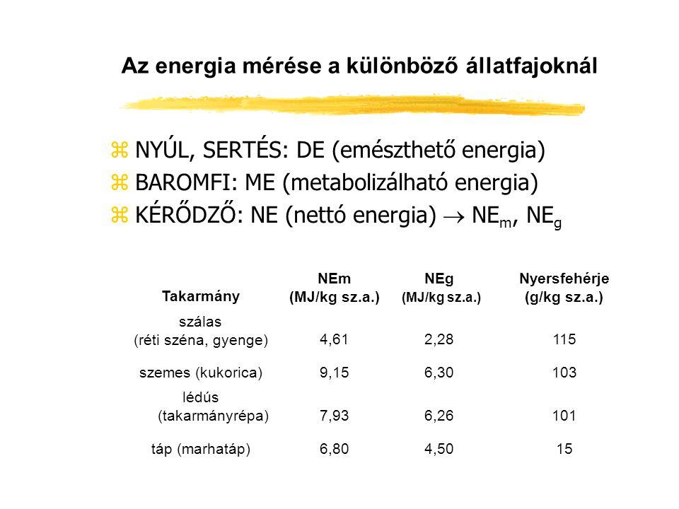 Az energia mérése a különböző állatfajoknál zNYÚL, SERTÉS: DE (emészthető energia) zBAROMFI: ME (metabolizálható energia) zKÉRŐDZŐ: NE (nettó energia)
