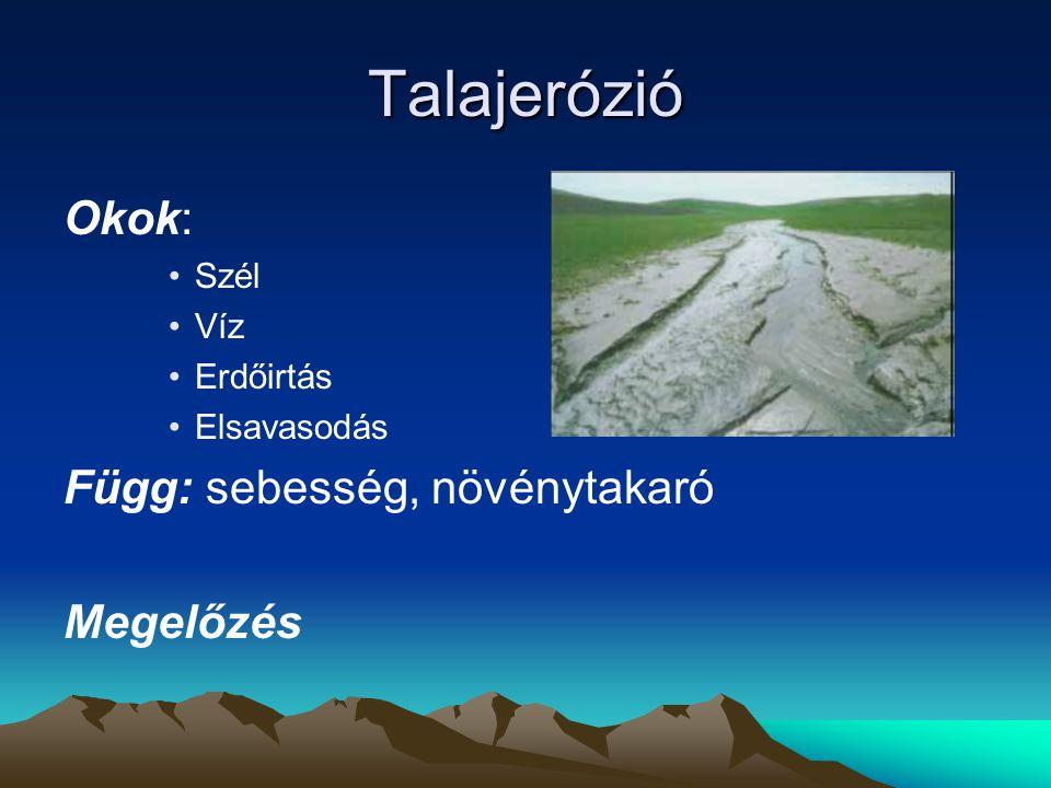Talajerózió Okok: Szél Víz Erdőirtás Elsavasodás Függ: sebesség, növénytakaró Megelőzés