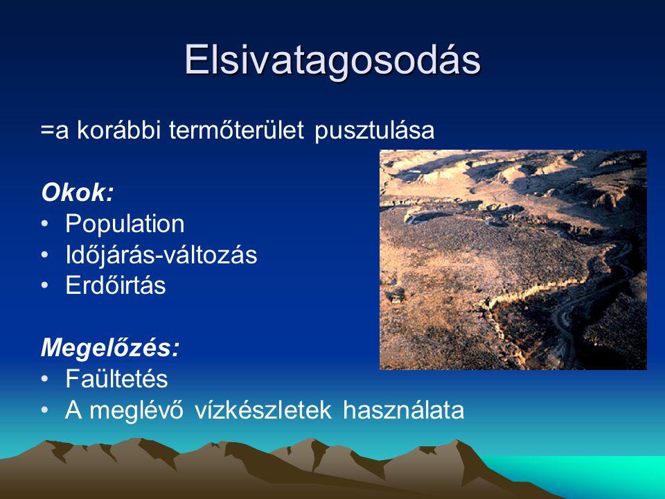 Elsivatagosodás =a korábbi termőterület pusztulása Okok: Population Időjárás-változás Erdőirtás Megelőzés: Faültetés A meglévő vízkészletek használata