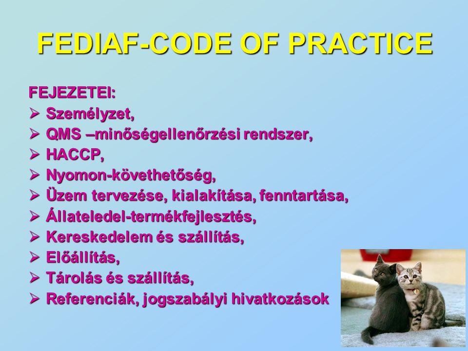 FEDIAF-CODE OF PRACTICE FEJEZETEI:  Személyzet,  QMS –minőségellenőrzési rendszer,  HACCP,  Nyomon-követhetőség,  Üzem tervezése, kialakítása, fe