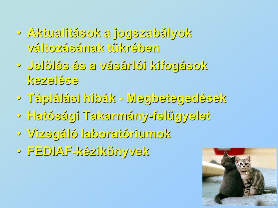 Aktualitások a jogszabályok változásának tükrében  Új adalékanyag irányelv 1831 / 2003 / EC  TSE, állati eredetű melléktermékek- várható módosítások 1774 / 2002 / EC  EU új határátkelők, export üzemek listája