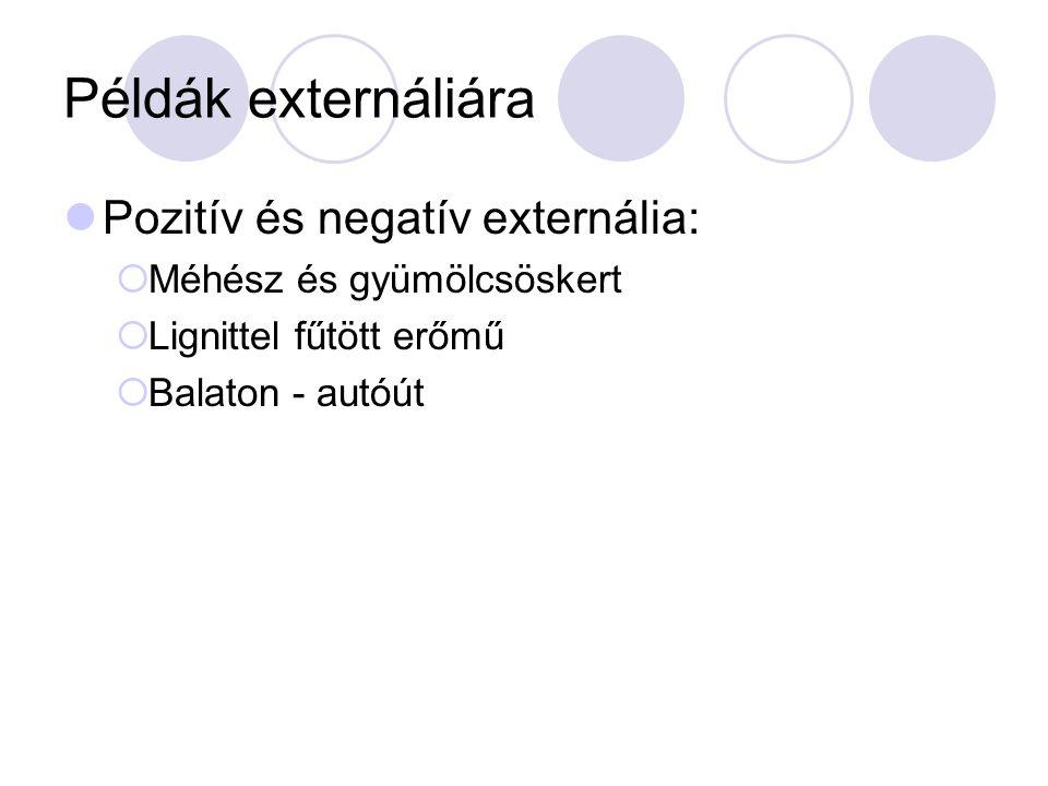 Példák externáliára Pozitív és negatív externália:  Méhész és gyümölcsöskert  Lignittel fűtött erőmű  Balaton - autóút