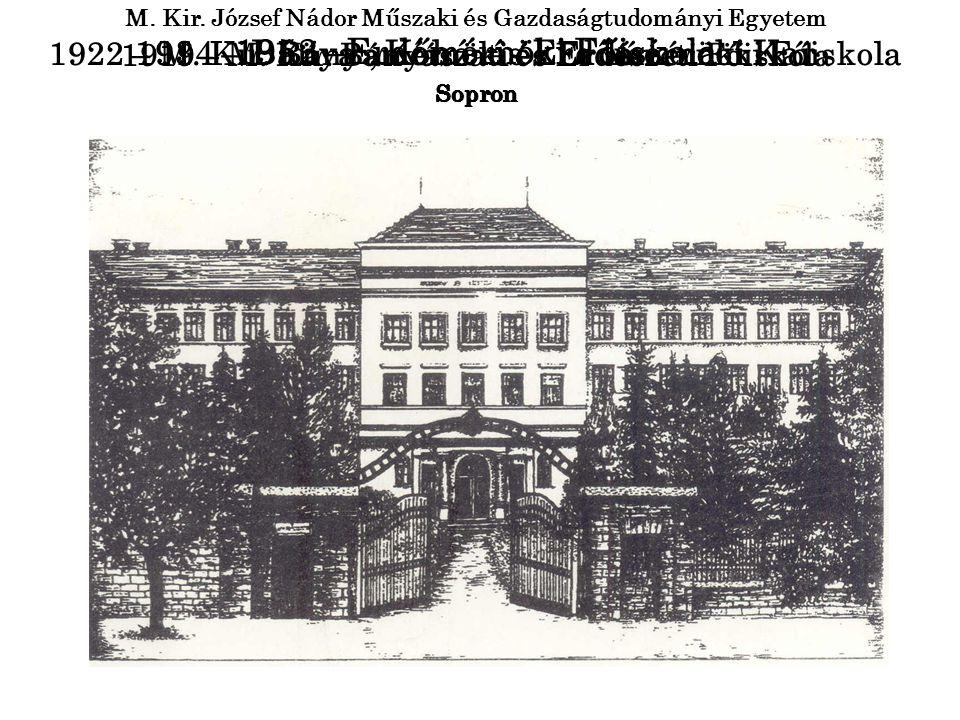 1919 – M. Kir. Bányászati és Erdészeti Főiskola Sopron 1922 – M. Kir. Bányamérnöki és Erdőmérnöki Főiskola Sopron M. Kir. József Nádor Műszaki és Gazd