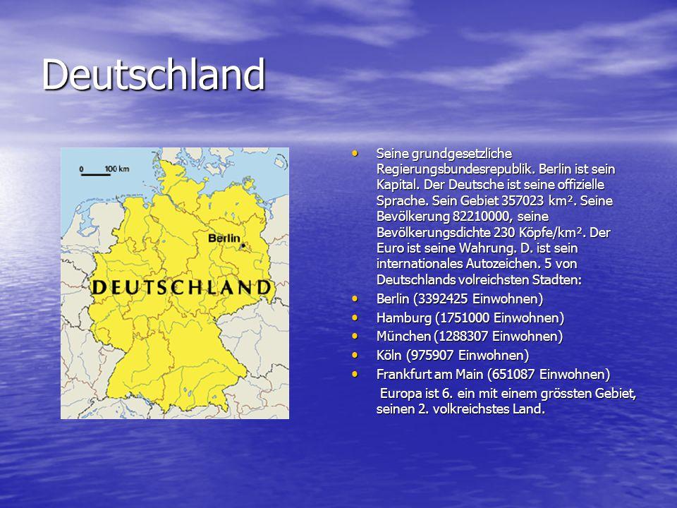 Deutschland Seine grundgesetzliche Regierungsbundesrepublik. Berlin ist sein Kapital. Der Deutsche ist seine offizielle Sprache. Sein Gebiet 357023 km