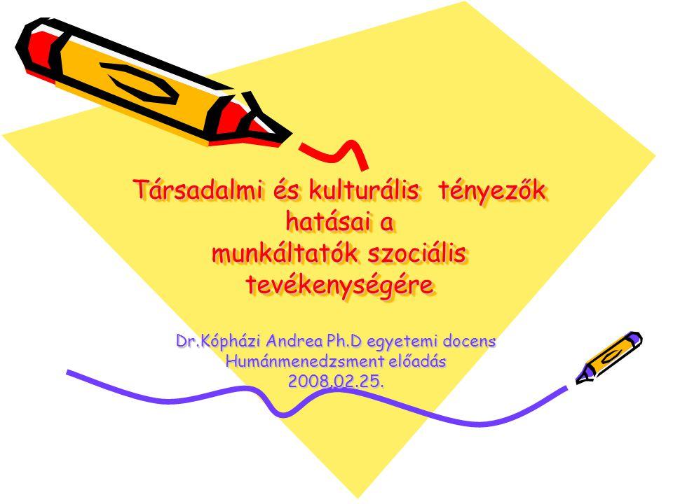 Társadalmi és kulturális tényezők hatásai a munkáltatók szociális tevékenységére Dr.Kópházi Andrea Ph.D egyetemi docens Humánmenedzsment előadás 2008.02.25.