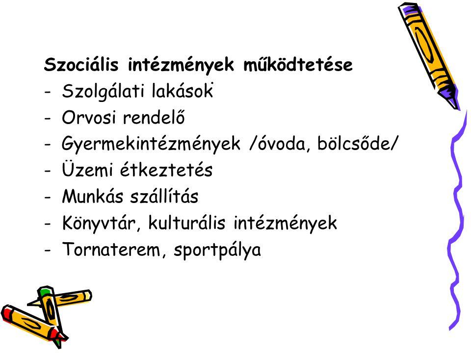 . Szociális intézmények működtetése -Szolgálati lakások -Orvosi rendelő -Gyermekintézmények /óvoda, bölcsőde/ -Üzemi étkeztetés -Munkás szállítás -Könyvtár, kulturális intézmények -Tornaterem, sportpálya