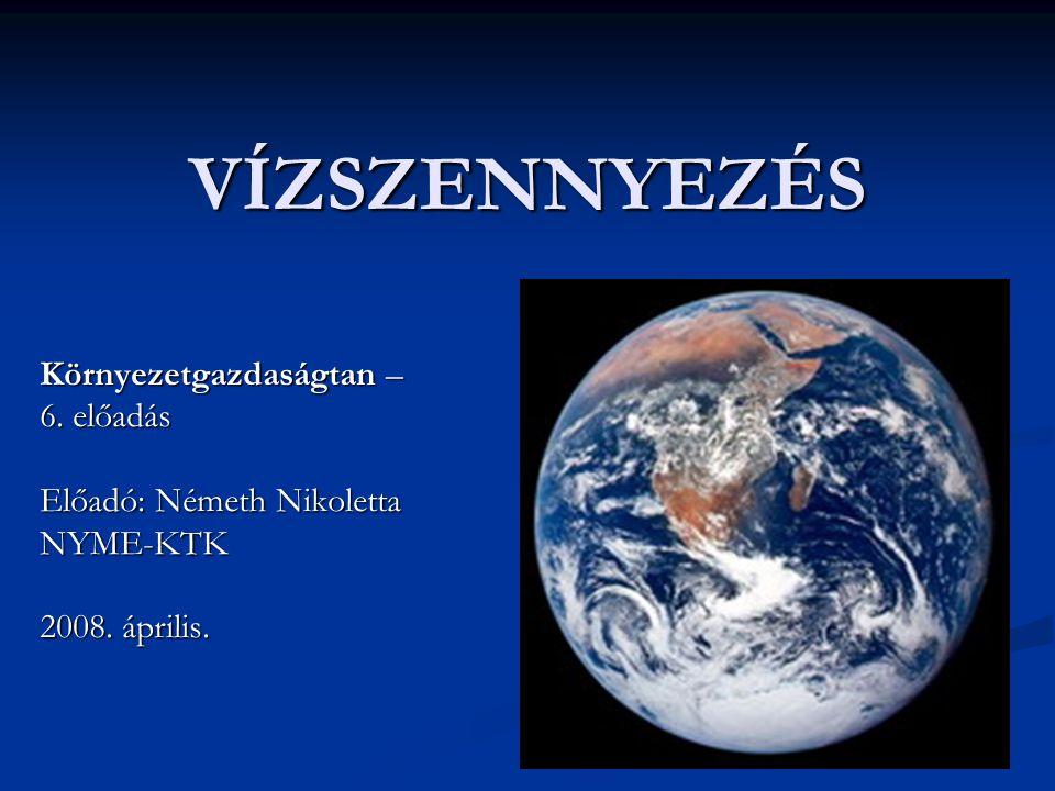 VÍZSZENNYEZÉS Környezetgazdaságtan – 6. előadás Előadó: Németh Nikoletta NYME-KTK 2008. április.