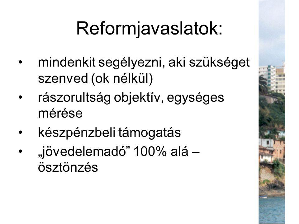 """Reformjavaslatok: mindenkit segélyezni, aki szükséget szenved (ok nélkül) rászorultság objektív, egységes mérése készpénzbeli támogatás """"jövedelemadó"""""""
