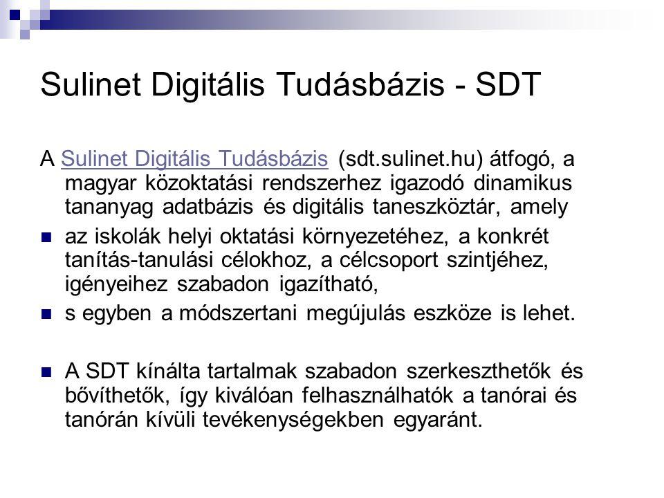 Sulinet Digitális Tudásbázis - SDT A Sulinet Digitális Tudásbázis (sdt.sulinet.hu) átfogó, a magyar közoktatási rendszerhez igazodó dinamikus tananyag