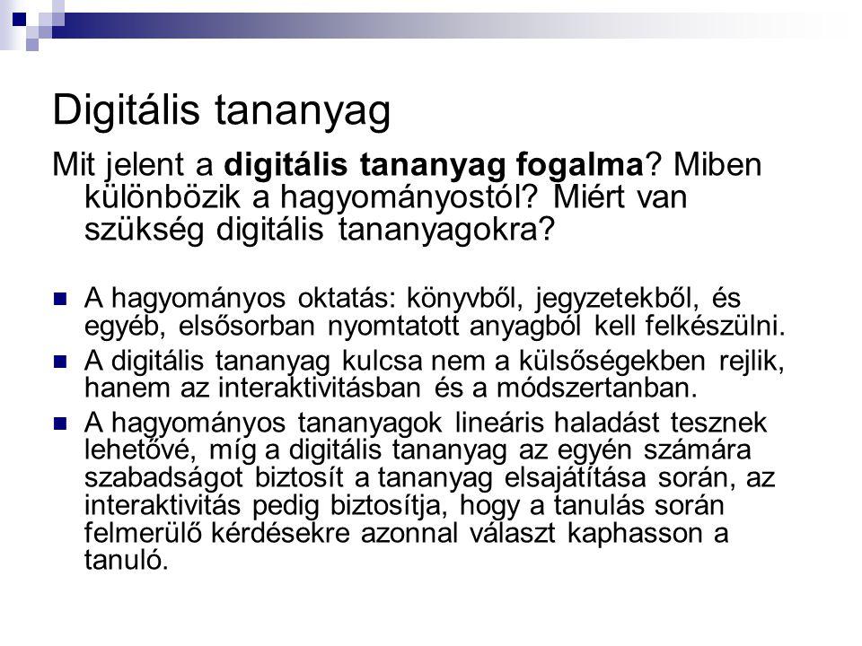 Digitális tananyag Mit jelent a digitális tananyag fogalma? Miben különbözik a hagyományostól? Miért van szükség digitális tananyagokra? A hagyományos