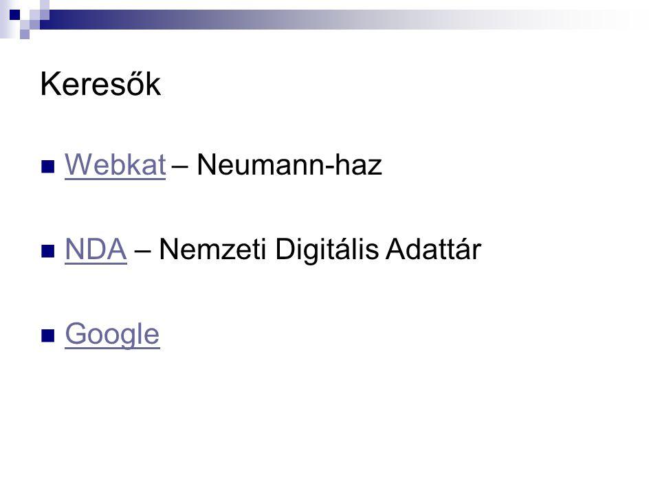 Keresők Webkat – Neumann-haz Webkat NDA – Nemzeti Digitális Adattár NDA Google
