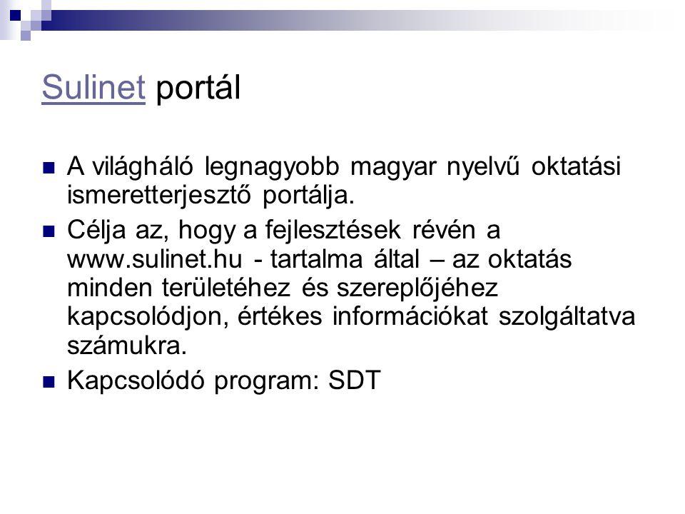 SulinetSulinet portál A világháló legnagyobb magyar nyelvű oktatási ismeretterjesztő portálja. Célja az, hogy a fejlesztések révén a www.sulinet.hu -