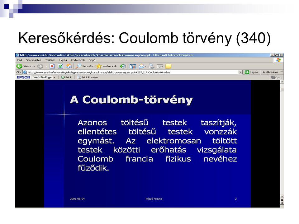 Keresőkérdés: Coulomb törvény (340)
