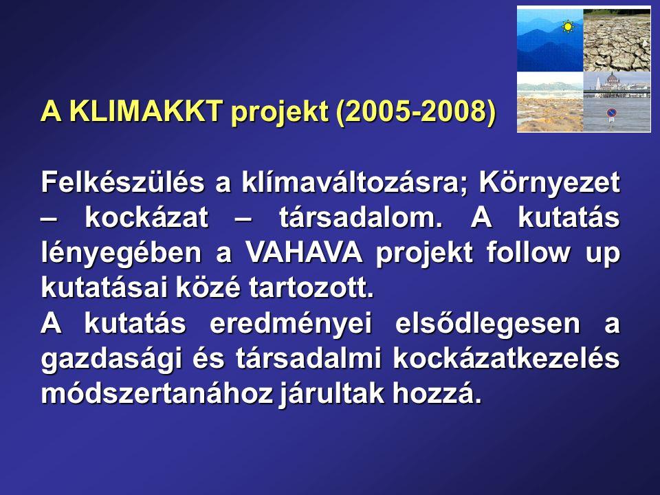 A KLIMAKKT projekt (2005-2008) Felkészülés a klímaváltozásra; Környezet – kockázat – társadalom.