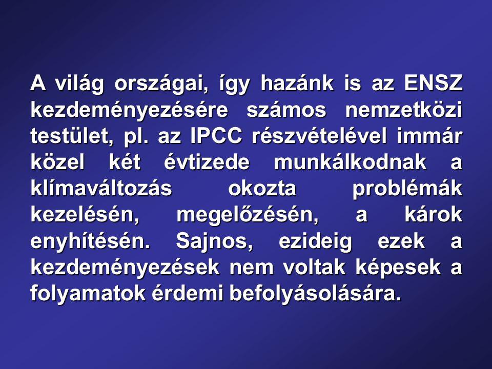 A világ országai, így hazánk is az ENSZ kezdeményezésére számos nemzetközi testület, pl.