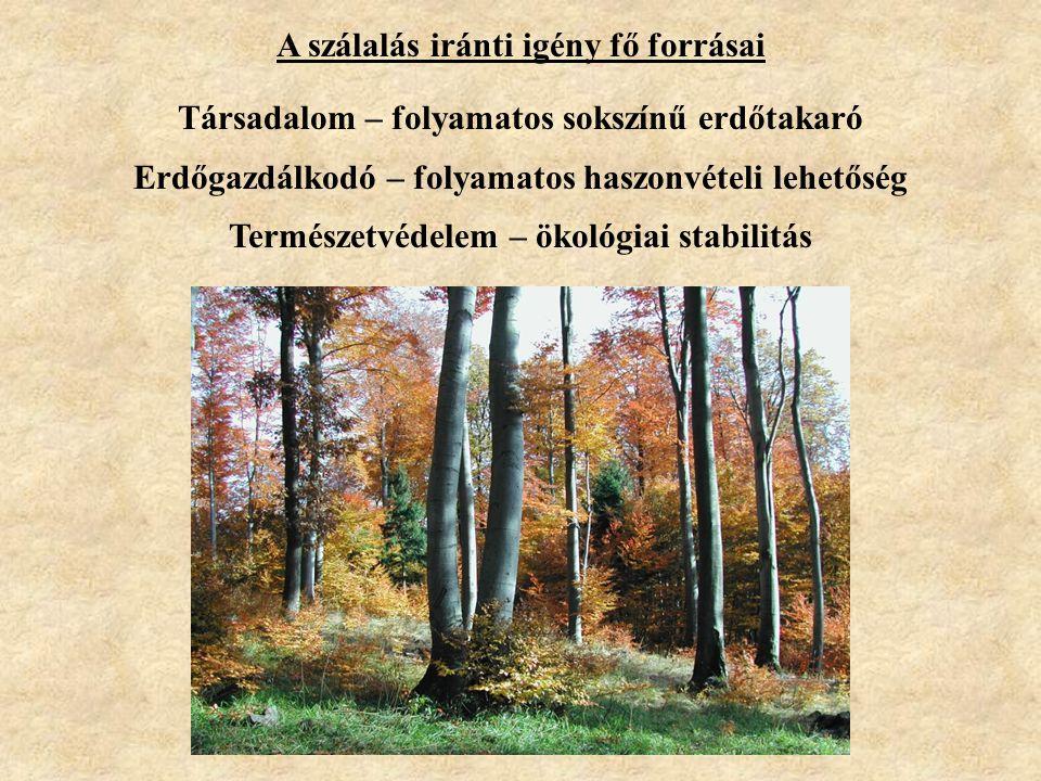 A szálalás iránti igény fő forrásai Társadalom – folyamatos sokszínű erdőtakaró Erdőgazdálkodó – folyamatos haszonvételi lehetőség Természetvédelem –