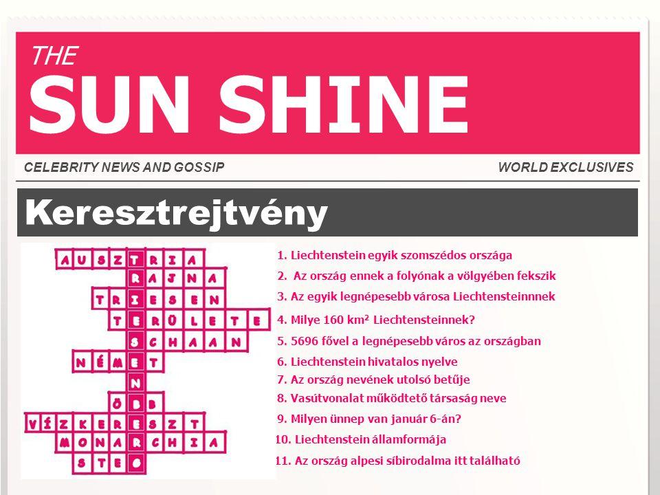 Keresztrejtvény CELEBRITY NEWS AND GOSSIPWORLD EXCLUSIVES THE SUN SHINE 1.