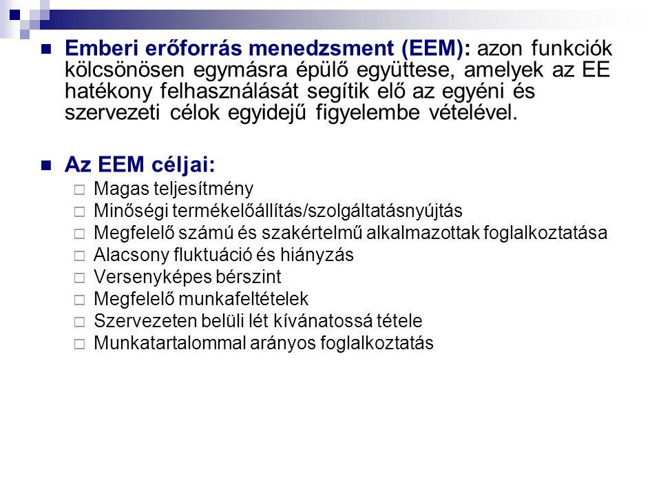 Emberi erőforrás menedzsment (EEM): azon funkciók kölcsönösen egymásra épülő együttese, amelyek az EE hatékony felhasználását segítik elő az egyéni és
