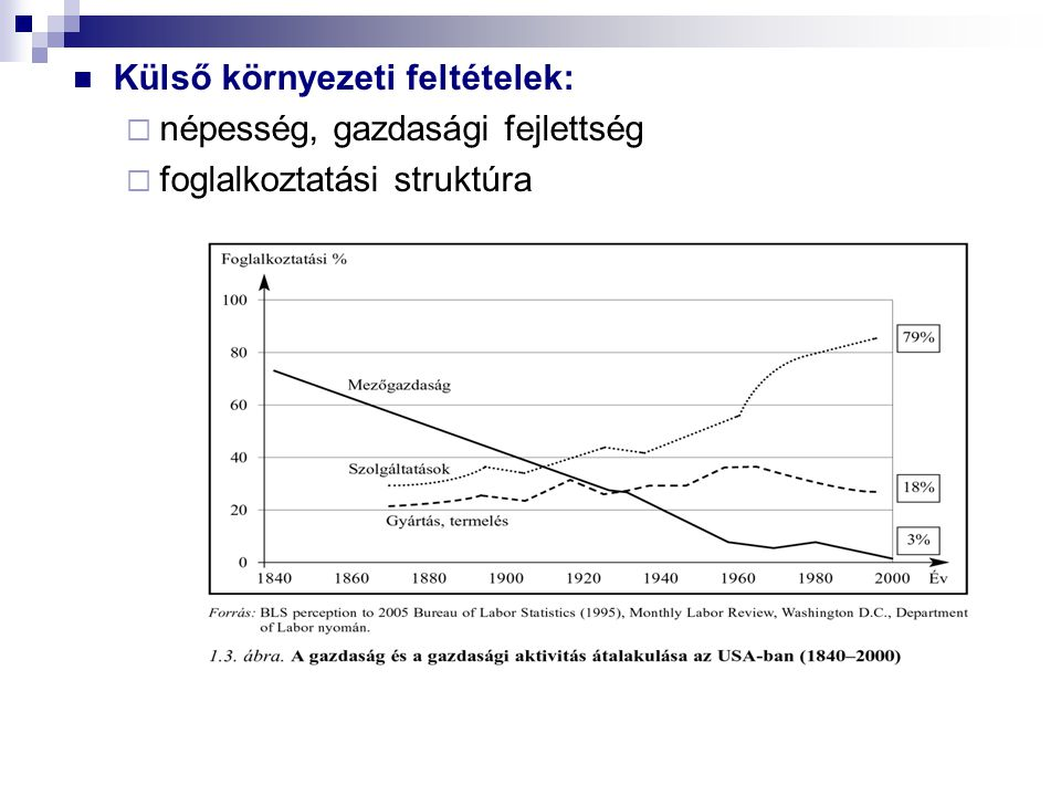 Külső környezeti feltételek:  népesség, gazdasági fejlettség  foglalkoztatási struktúra
