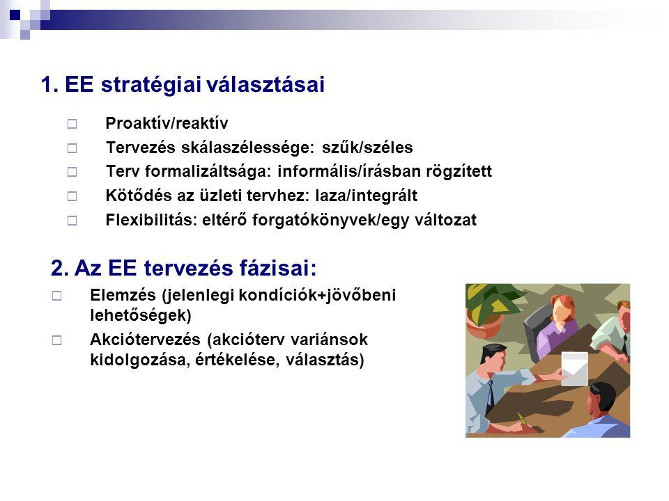 1. EE stratégiai választásai  Proaktív/reaktív  Tervezés skálaszélessége: szűk/széles  Terv formalizáltsága: informális/írásban rögzített  Kötődés