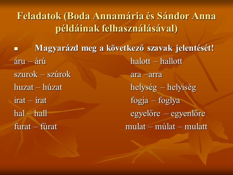 Feladatok (Boda Annamária és Sándor Anna példáinak felhasználásával) Magyarázd meg a következő szavak jelentését! Magyarázd meg a következő szavak jel
