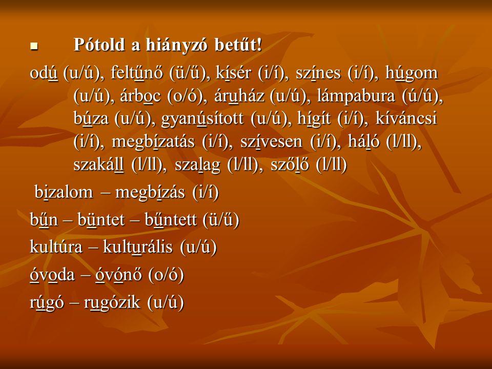 Pótold a hiányzó betűt! Pótold a hiányzó betűt! odú (u/ú), feltűnő (ü/ű), kísér (i/í), színes (i/í), húgom (u/ú), árboc (o/ó), áruház (u/ú), lámpabura